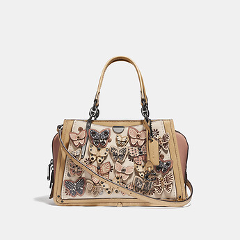 Image of Coach Australia  DREAMER WITH BUTTERFLY APPLIQUE AND SNAKESKIN DETAIL