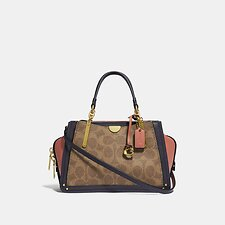Image of Coach Australia B4/TAN INK LIGHT PEACH DREAMER 21 IN COLORBLOCK SIGNATURE CANVAS
