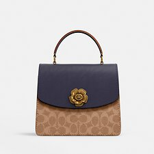 Image of Coach Australia B4/TAN INK LIGHT PEACH PARKER TOP HANDLE IN COLORBLOCK SIGNATURE CANVAS