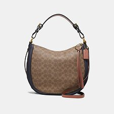 Image of Coach Australia B4/TAN INK LIGHT PEACH SUTTON HOBO IN COLORBLOCK SIGNATURE CANVAS