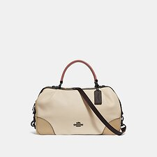 Image of Coach Australia V5/IVORY MULTI LANE SATCHEL IN COLORBLOCK WITH SNAKESKIN