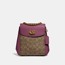 Image of Coach Australia B4/TAN DUSTY PINK PARKER CONVERTIBLE BACKPACK 16 IN SIGNATURE CANVAS