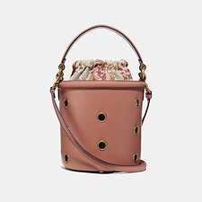 Image of Coach Australia B4/LIGHT PEACH DRAWSTRING BUCKET BAG WITH GROMMETS