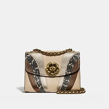 Image of Coach Australia B4/IVORY MULTI PARKER 18 WITH WAVE PATCHWORK AND SNAKESKIN DETAIL