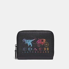 Image of Coach Australia GM/BLACK MULTI SMALL ZIP AROUND WALLET WITH REXY AND CARRIAGE