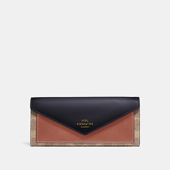 Image of Coach Australia  SOFT WALLET IN COLORBLOCK SIGNATURE CANVAS