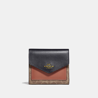 Image of Coach Australia  SMALL WALLET IN COLORBLOCK SIGNATURE CANVAS