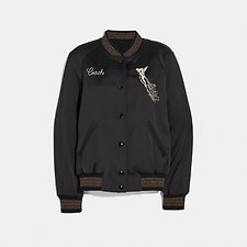 Image of Coach Australia BLACK DISNEY X COACH REVERSIBLE VARSITY JACKET