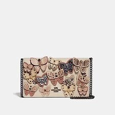 Image of Coach Australia V5/IVORY MULTI CALLIE FOLDOVER CHAIN CLUTCH WITH BUTTERFLY APPLIQUE