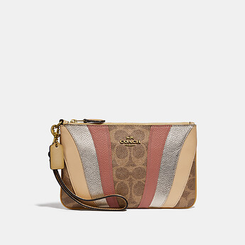 Image of Coach Australia  SMALL WRISTLET IN SIGNATURE CANVAS WITH WAVE PATCHWORK