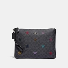 Image of Coach Australia V5/CHARCOAL MULTI LARGE WRISTLET 30 IN SIGNATURE CANVAS WITH STAR APPLIQUE AND SNAKESKIN DETAIL