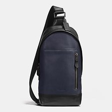 Image of Coach Australia QB/MIDNIGHT/BLACK MANHATTAN SLING PACK IN SPORT CALF LEATHER