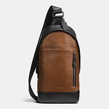 Image of Coach Australia QB/DARK SADDLE/BLACK MANHATTAN SLING PACK IN SPORT CALF LEATHER