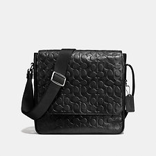 Image of Coach Australia SV/BLACK METROPOLITAN MAP BAG IN SIGNATURE EMBOSSED SPORT CALF LEATHER