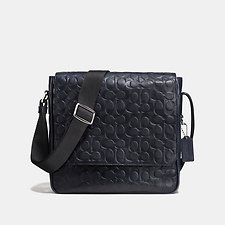 Image of Coach Australia SV/MIDNIGHT METROPOLITAN MAP BAG IN SIGNATURE EMBOSSED SPORT CALF LEATHER