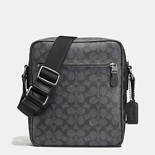 Image of Coach Australia QB/CHARCOAL METROPOLITAN FLIGHT BAG IN SIGNATURE COATED CANVAS