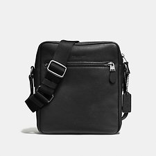 Image of Coach Australia QB/BLACK METROPOLITAN FLIGHT BAG IN PEBBLE LEATHER LEATHER