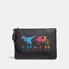Image of Coach Australia GM/BLACK MULTI LARGE WRISTLET 30 WITH REXY AND CARRIAGE