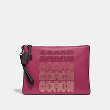 Image of Coach Australia GM/BRIGHT CHERRY MULTI LARGE WRISTLET 30 WITH COACH PRINT