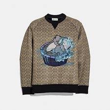Image of Coach Australia KHAKI SIGNATURE DISNEY X COACH SIGNATURE SWEATSHIRT WITH DUMBO