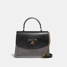 Image of Coach Australia B4/BLACK MULTI PARKER TOP HANDLE WITH BUTTERFLY TURNLOCK AND SNAKESKIN DETAIL