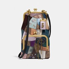 Image of Coach Australia B4/TAN BLACK MULTI DOUBLE FRAME CROSSBODY WITH SIGNATURE PATCHWORK