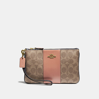 Image of Coach Australia  SMALL WRISTLET IN COLORBLOCK SIGNATURE CANVAS