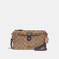 Image of Coach Australia B4/TAN INK LIGHT PEACH NOA POP-UP MESSENGER IN COLORBLOCK SIGNATURE CANVAS