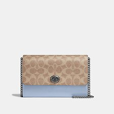 Image of Coach Australia V5/TAN MIST INK MARLOW TURNLOCK CHAIN CROSSBODY IN COLORBLOCK SIGNATURE CANVAS