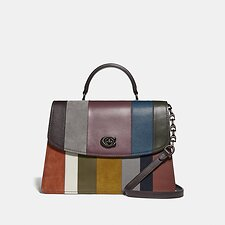 Image of Coach Australia V5/OXBLOOD MULTI PARKER TOP HANDLE 32 WITH PATCHWORK STRIPES