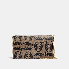Image of Coach Australia  CALLIE FOLDOVER CHAIN CLUTCH IN SIGNATURE CANVAS WITH REXY BY GUANG YU