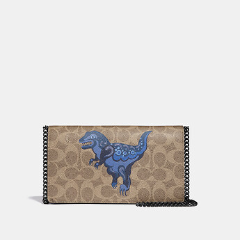 Image of Coach Australia  CALLIE FOLDOVER CHAIN CLUTCH IN SIGNATURE CANVAS WITH REXY BY ZHU JINGYI