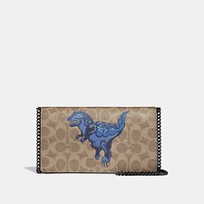 Image of Coach Australia V5/TAN DUSTY LAVENDER CALLIE FOLDOVER CHAIN CLUTCH IN SIGNATURE CANVAS WITH REXY BY ZHU JINGYI
