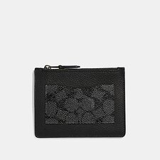 Image of Coach Australia CHARCOAL LARGE CARD CASE WITH SIGNATURE CANVAS BLOCKING