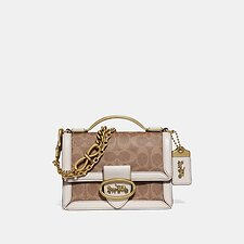 Image of Coach Australia B4/TAN CHALK RILEY TOP HANDLE 18 IN SIGNATURE CANVAS
