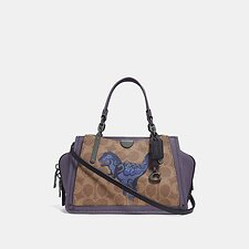 Image of Coach Australia V5/TAN DUSTY LAVENDER DREAMER 21 IN SIGNATURE CANVAS WITH REXY BY ZHU JINGYI