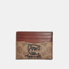 Image of Coach Australia B4/TAN RUST CARD CASE IN SIGNATURE CANVAS WITH REXY BY GUANG YU