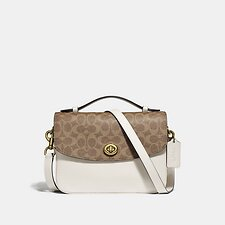 Image of Coach Australia B4/TAN CHALK CASSIE CROSSBODY WITH SIGNATURE CANVAS BLOCKING