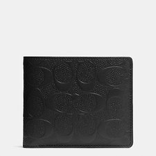 Image of Coach Australia BLACK Compact Id Wallet In Signature Crossgrain Leather