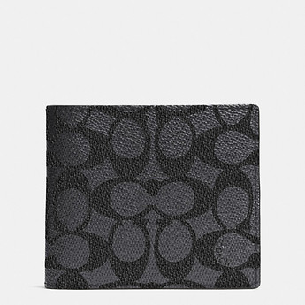 Image of Coach Australia  Compact Id Wallet In Signature Canvas