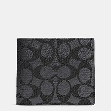 Image of Coach Australia CHARCOAL Compact Id Wallet In Signature Canvas