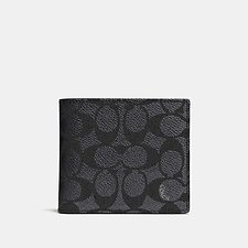 Image of Coach Australia CHARCOAL COIN WALLET IN SIGNATURE CANVAS