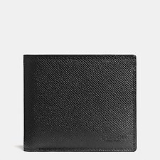 Image of Coach Australia BLACK COMPACT ID WALLET IN CROSSGRAIN LEATHER
