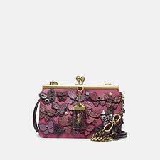 Image of Coach Australia B4/BRIGHT CHERRY DOUBLE FRAME BAG 19 WITH BUTTERFLY APPLIQUE AND SNAKESKIN DETAIL