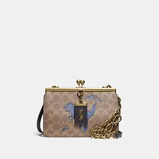 Image of Coach Australia B4/TAN DUSTY LAVENDER DOUBLE FRAME BAG 19 IN SIGNATURE CANVAS WITH REXY BY ZHU JINGYI