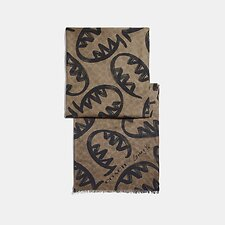 Image of Coach Australia TAN SIGNATURE SCARF WITH REXY BY GUANG YU