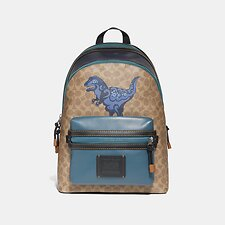 Image of Coach Australia JI/KHAKI ACADEMY BACKPACK IN SIGNATURE CANVAS WITH REXY BY ZHU JINGYI