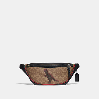 Image of Coach Australia  RIVINGTON BELT BAG IN SIGNATURE CANVAS WITH REXY BY SUI JIANGUO