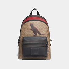 Image of Coach Australia JI/CHARCOAL ACADEMY BACKPACK IN SIGNATURE CANVAS WITH REXY BY SUI JIANGUO