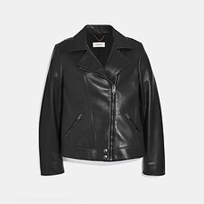 Image of Coach Australia BLACK LEATHER MOTO JACKET